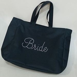 Black Bride Newlyweds cosmetics hair bag purse